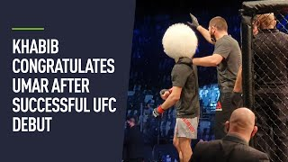 Khabib celebrates with cousin Umar Nurmagomedov after UFC debut victory