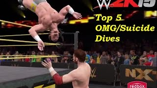 WWE 2K15 Top 5 OMG/Suicide Dives! (PS4)