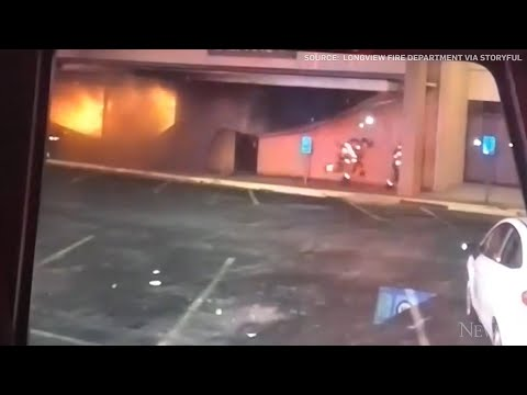 Close call for Texas firefighters as structure collapses