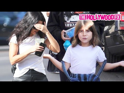 Kourtney Kardashian's Kids Give Paparazzi A Hard Time While Leaving Lunch In West Hollywood