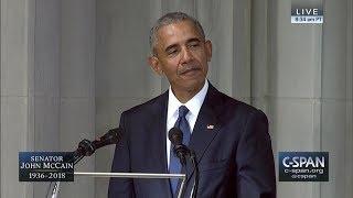 Former President Barack Obama tribute to Senator John McCain -- FULL VIDEO (C-SPAN)