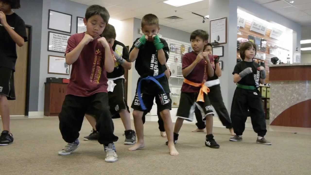 The kids boxing class at the Las Vegas Kung Fu Academy ...