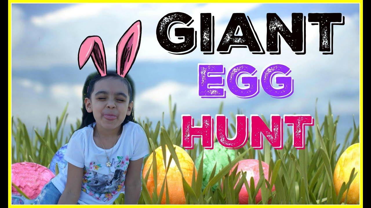 GIANT Surprise Easter Eggs Hunt Challenge at The Park + Surprise Toys Rea life