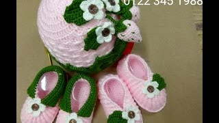 how to crochet baby booties strawberry p1. Móc mẫu giày dâu tây p1