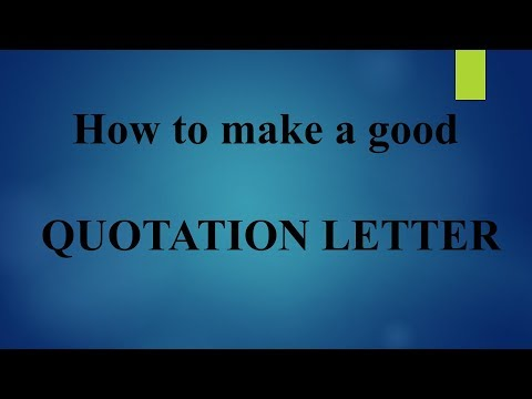 Week 1 :  How To Make A Good Quotation Letter II 3 Minutes Problem Solvers II