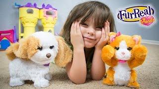 FurReal Friends Peek-A-Boo Daisy Kitten & My Bouncin' Pup Puppy Toys with Emily!