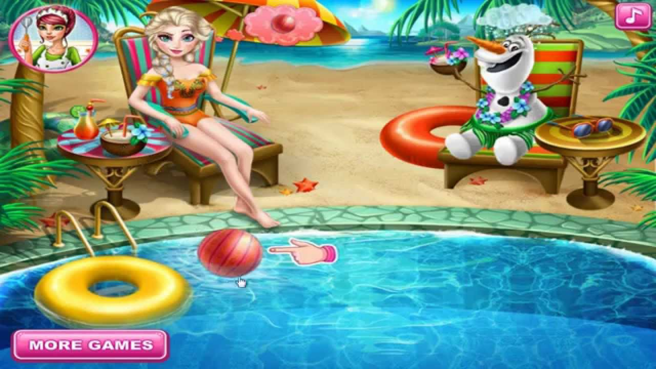 Disney Frozen Princess Elsa Swimming Pool Frozen Games For Girls Frozen Elsa Swimming Youtube