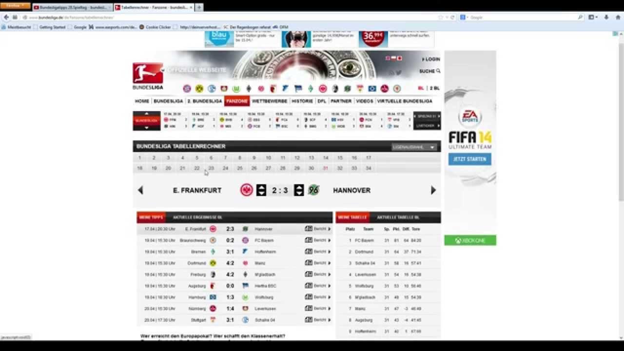 Tabellenrechner 1. Bundesliga