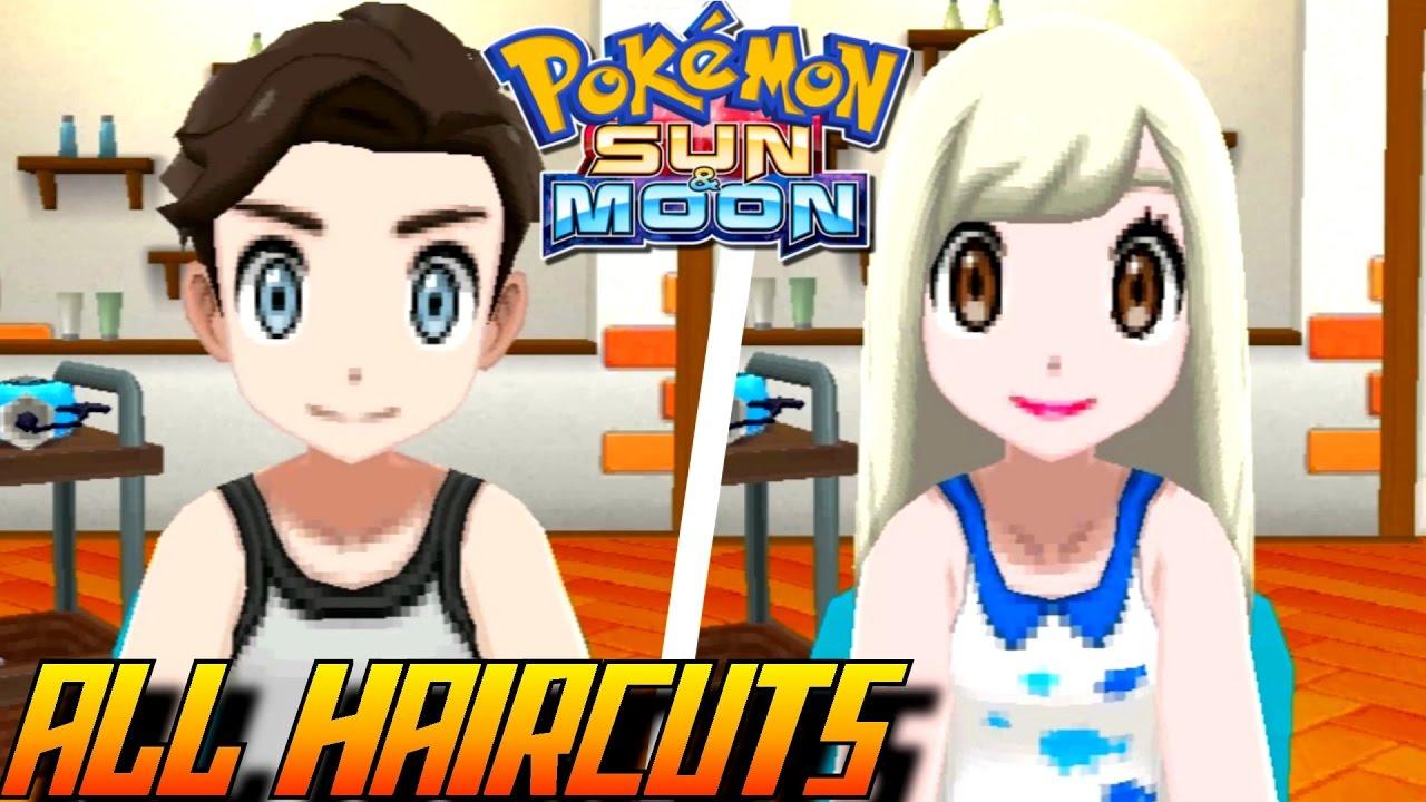 pokémon sun and moon - all haircuts + colors (male & female)