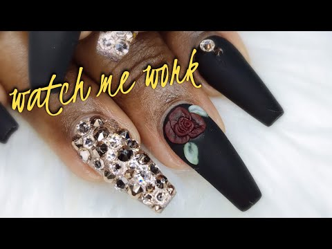 WATCH ME WORK🌹✨🖤: Matte Black with Swarovski Crystals  3D Acrylic Rose  Full Bling Nails