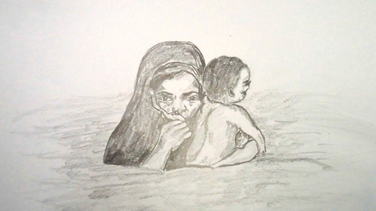 How to draw pencil sketch scenery of flood mother and child step by step very easy
