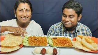 Naan Puri & Chana Masala Eating Challenge - Indian Food Eating Competition/Foodie Dipa Vlog
