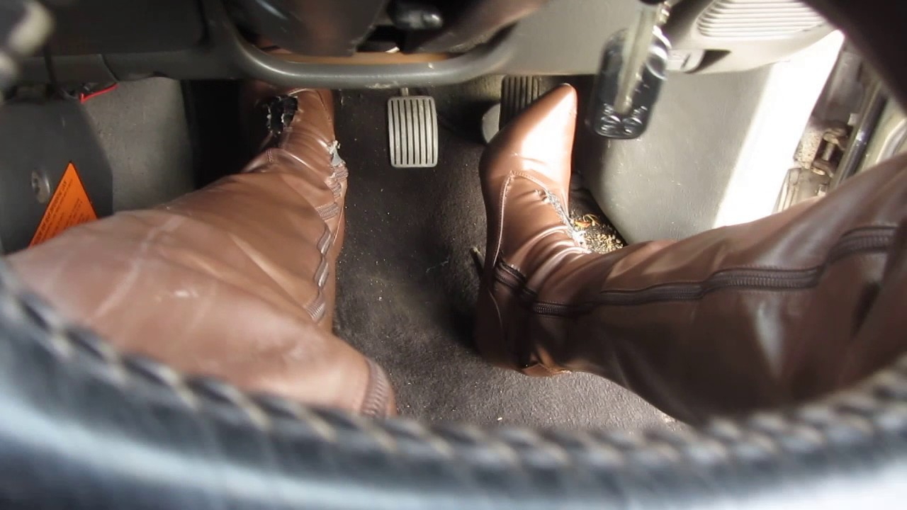 Pedal Pumping Wearing My Tall Brown Stiletto Thigh Boots With Leggings
