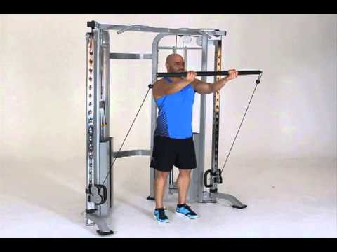 Standing cable front raise with dual attachment bar for Floor underhand cable fly