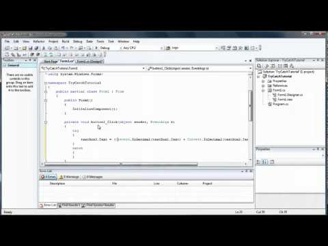 C# 3 Using try catch for error prevention