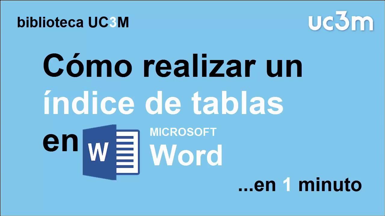 Cómo Hacer Un índice Automático De Tablas En Word