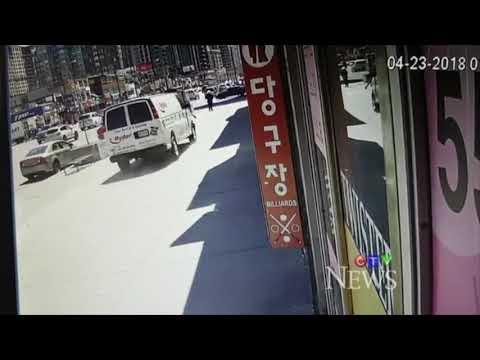 Surveillance video of van driving on Yonge St. sidewalk