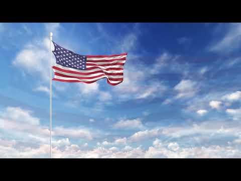 Free 4K Stock Footage - USA American Flag Waving On The Sky Video Loop
