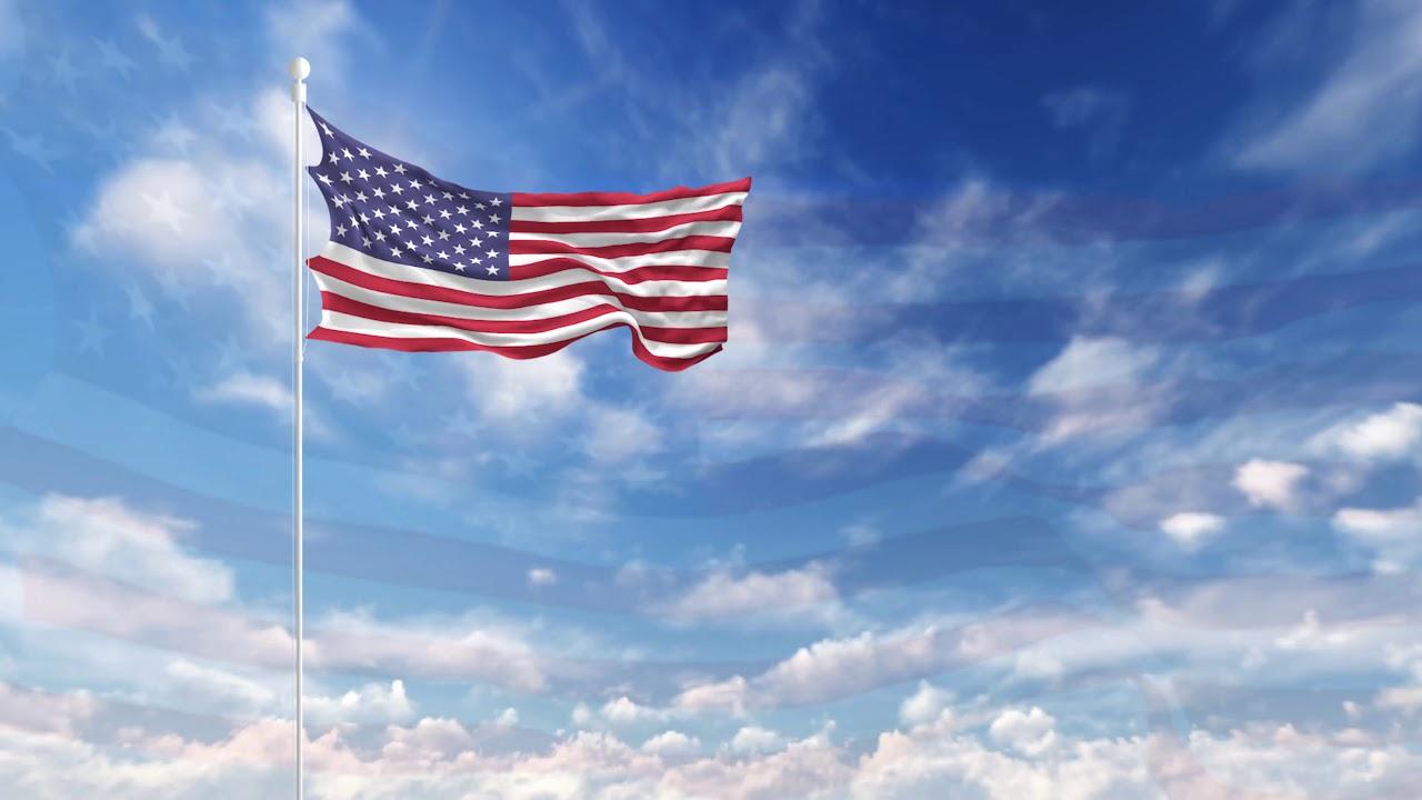 flag american waving usa sky 4k loop