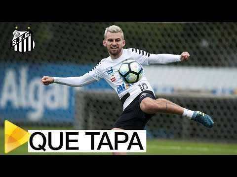 Se liga no tapa do Lucas Lima durante o treino do Peixe…