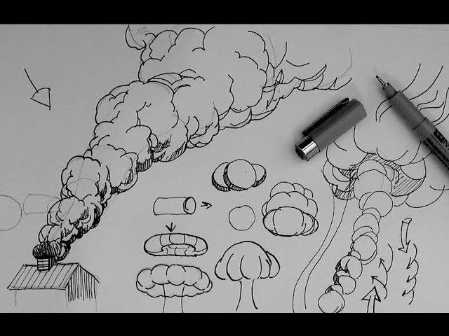 How To Draw A Rising Smoke Cloud Or Explosion Cloud Youtube