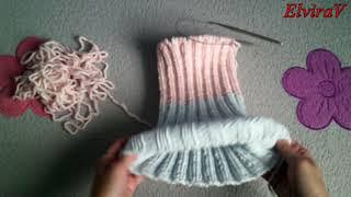 Шапка с отворотом/Вязание спицами