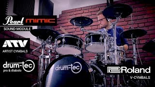 drum-tec electronic drums with Pearl Mimic Pro, ATV & Roland cymbals