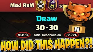 THIS IS THE FIRST TIME I HAVE SEEN A CLAN WAR LEAGUE DRAW!! - Clash of Clans