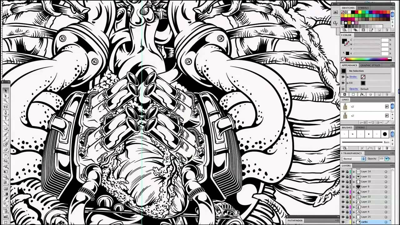Digital Inking - Illustrator - Split Wide Open