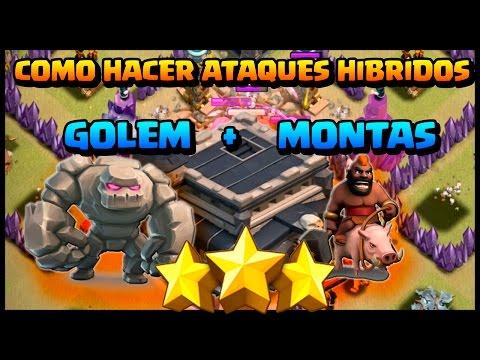 COMO HACER ATAQUES GOLEM + MONTAS -  AYUNT 9 - HIBRIDOS 3 ESTRELLAS - Clash of Clans - Español - CoC