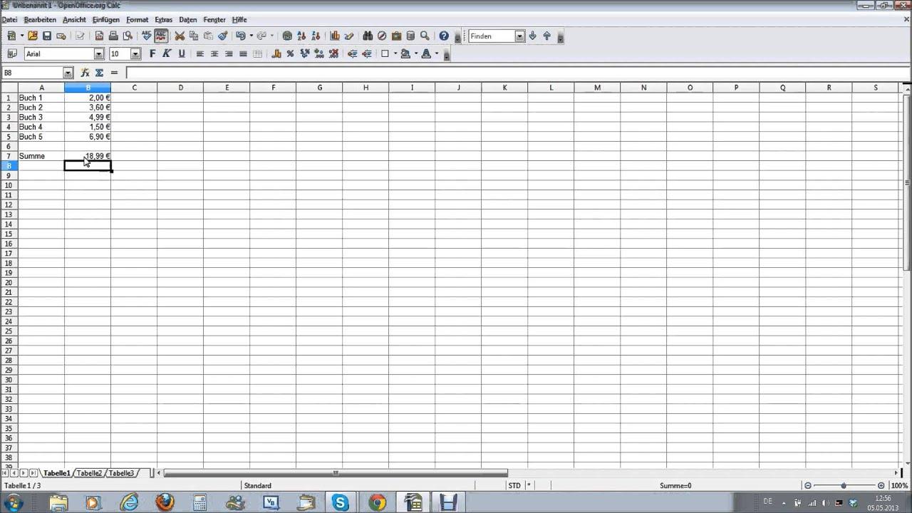 Eine Einfache Rechnung In Open Office Calc Youtube