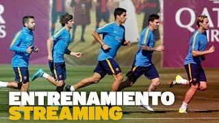 Entrenamiento del FC Barcelona previo al partido con la Real Sociedad