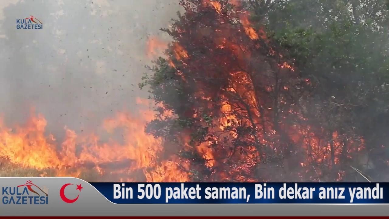 Kula'da anız yangını; Bin 500 paket saman, Bin dekar anız yandı