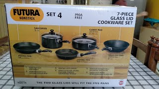 Unboxing Hawkins Futura Non-stick 7 piece glass lid cookware set