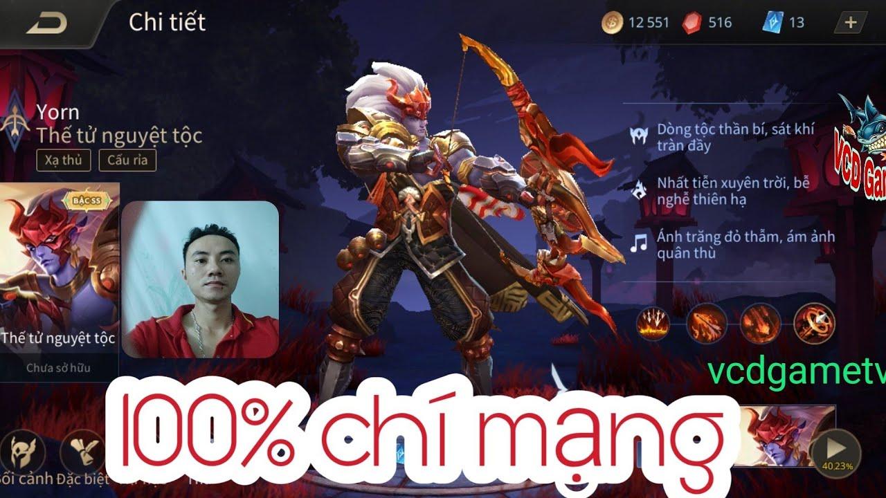 Tướng Yorn siêu mạnh khi  đạt 100 % chí mạng - game liên quân mobile