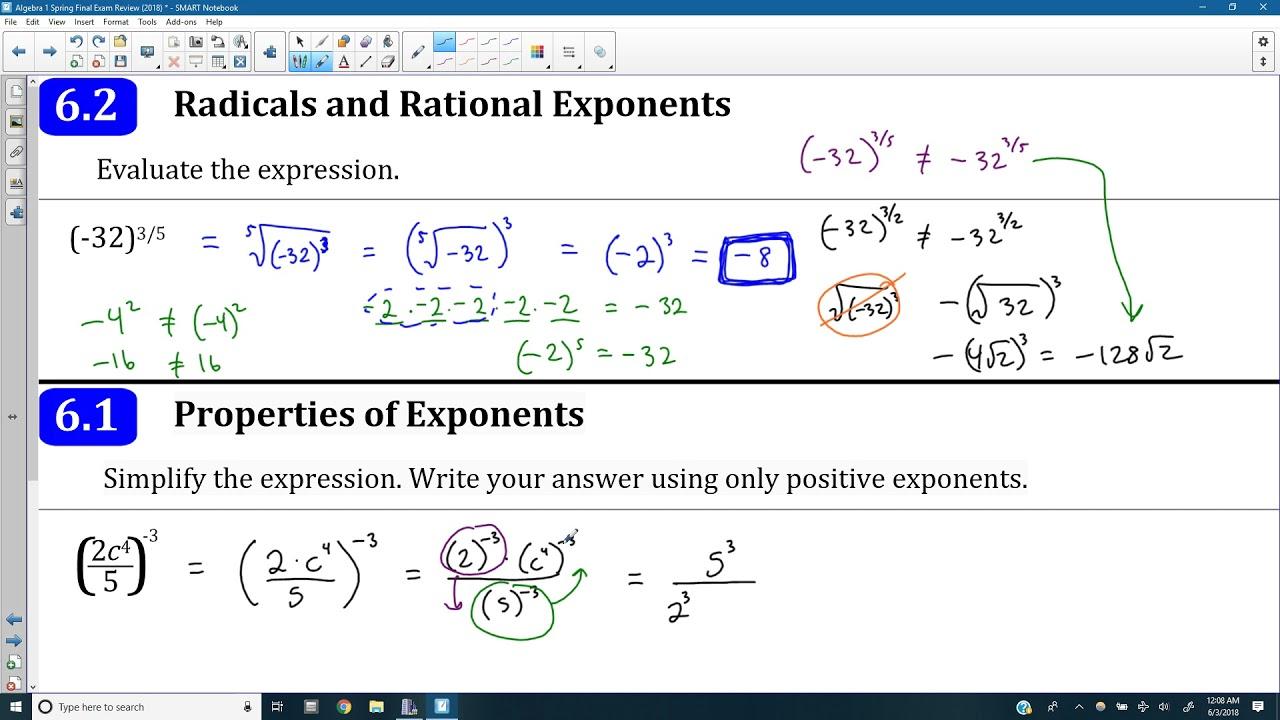 Algebra 1: Spring Final Exam Review