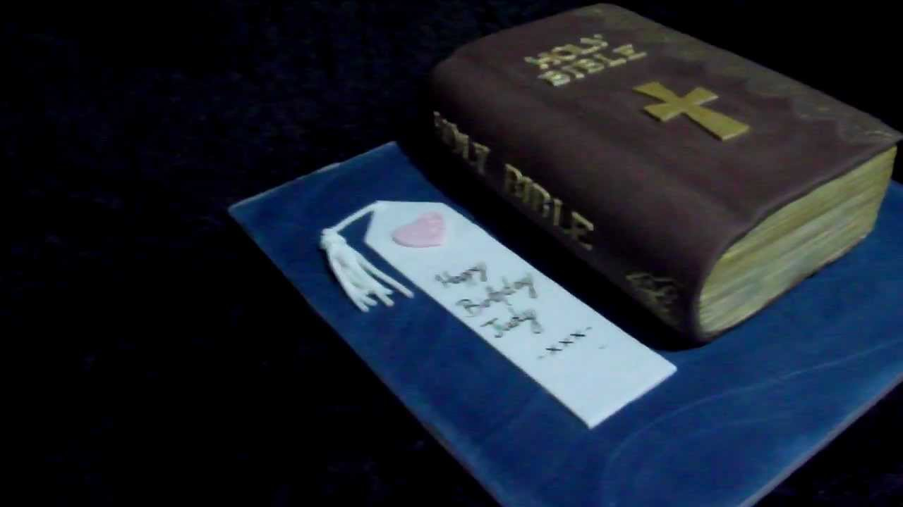 Bible Cake With Fondant Book Mark Youtube