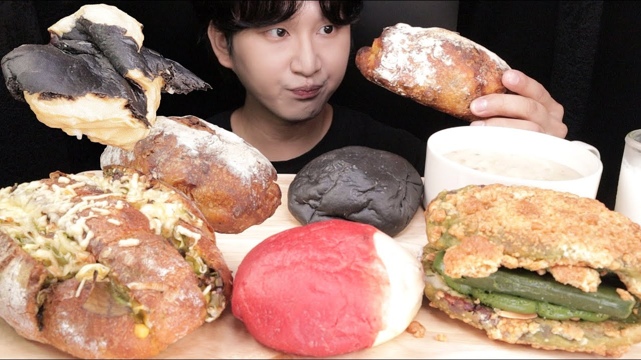 SUB)어글리 베이커리 빵 5종류 먹방!! Ugly Bakery Cream Bread Mukbang Eating Show!! クリームパンモッパン