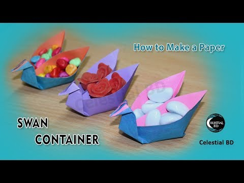 Swan container origami || How to make paper swan container