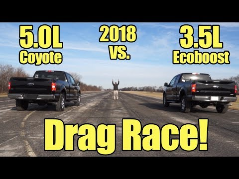 2018 Ford F150 3.5L Ecoboost Vs 5.0L V8 Coyote Drag Race! It's Kunes Country Prize Fights!