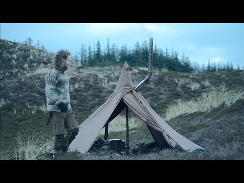 Solo bushcraft overnight - wood stove, canvas tent, feather sticks