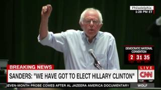 Bernie Sanders supporters boo loudly when he says they must elect Hillary Clinton