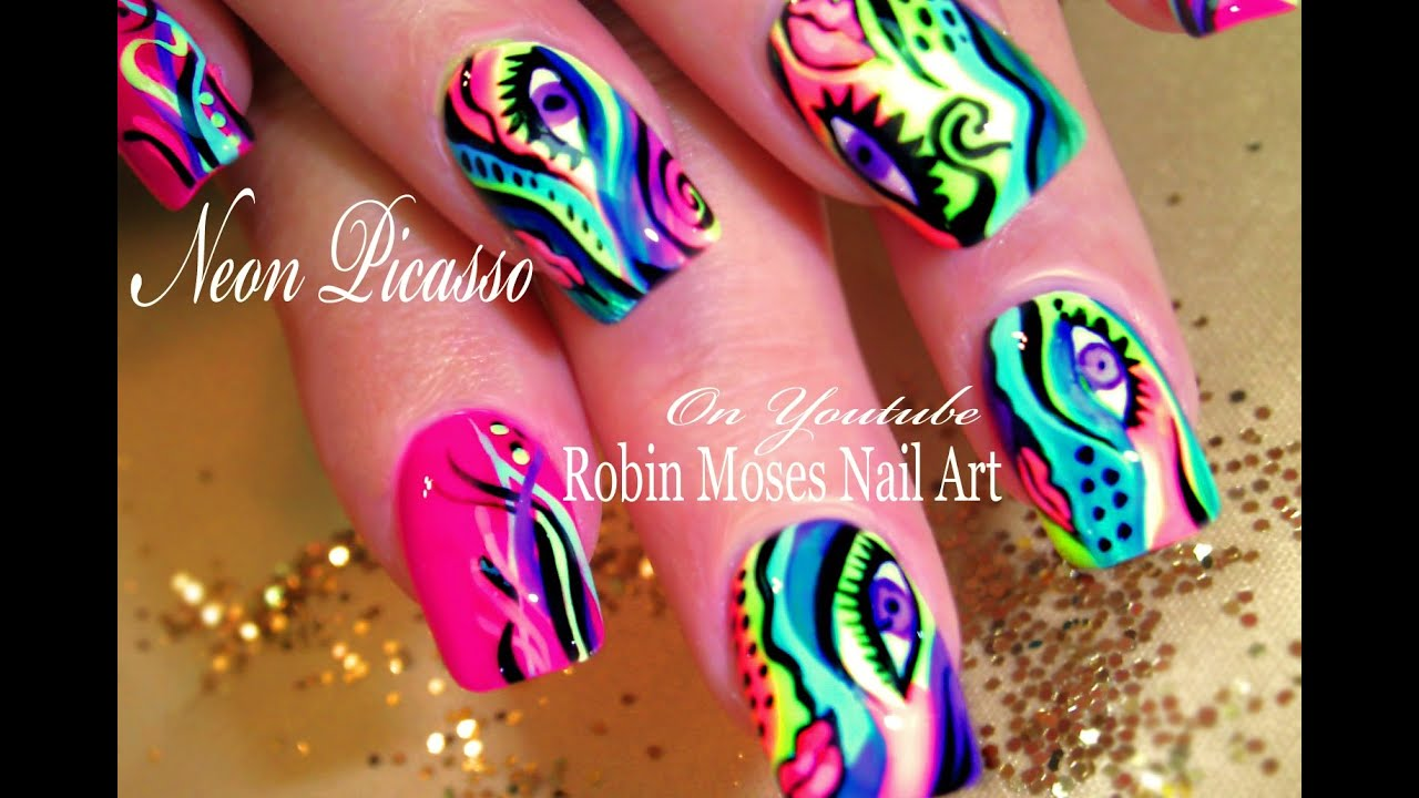 Neon Picasso Nails | Rainbow Abstract Nail Art Design Tutorials - YouTube - Neon Picasso Nails Rainbow Abstract Nail Art Design Tutorials