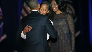 President Obama tears up while thanking Michelle and daughters