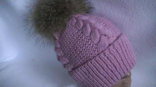 Вязание шапки узором  платочная  вязка и коса с 15 петель.