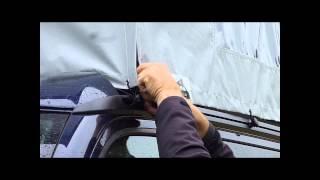 Calitop Seitenteile - der flexible Regen und Sonnenschutz für VW T5 California.(Hier wird der Aufbau und Abbau der Calitop Seitenteile außerhalb der