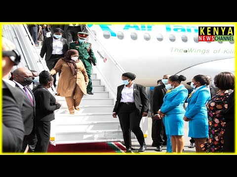 President Samia Suluhu arrives in Kenya