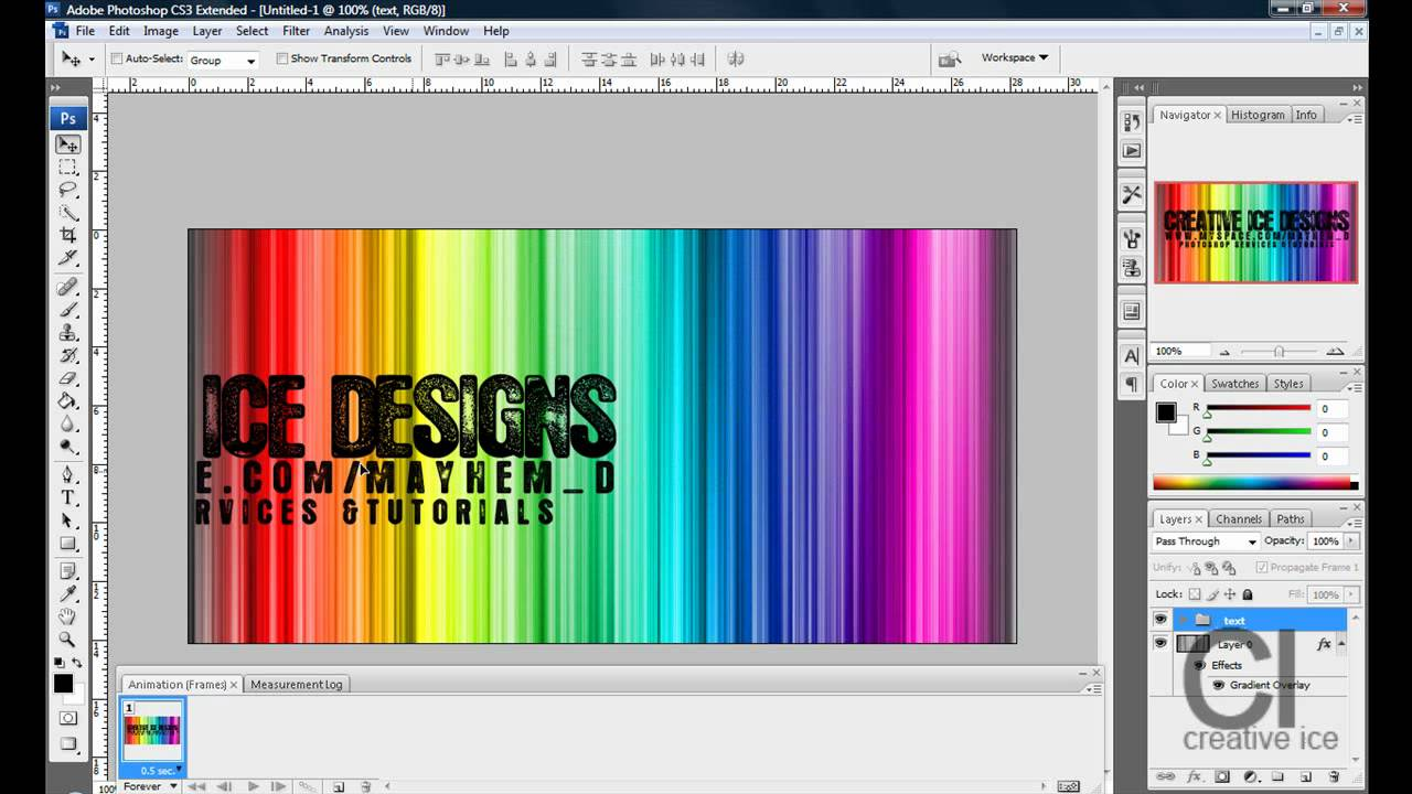 How to Make an animated MySpace banner in Photoshop CS3/CS4