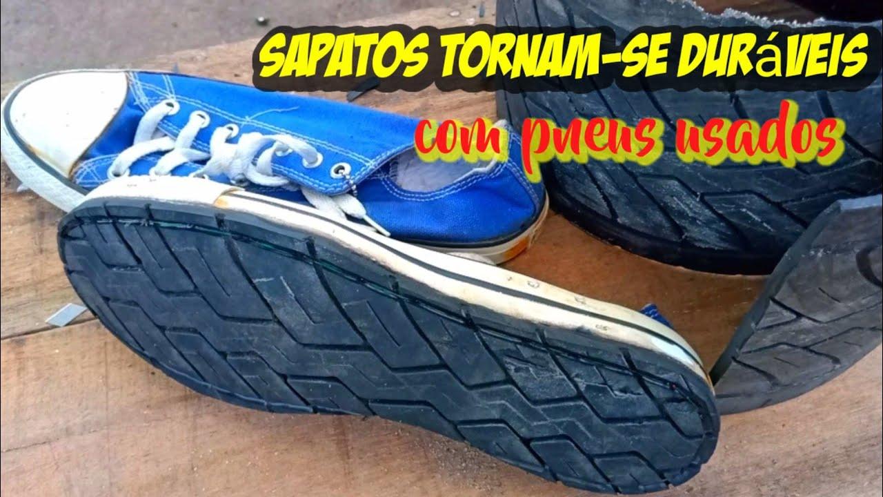 Solas de sapatos com pneus usados