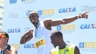 150-m-Sieg ohne Weltrekord: Bolt jubelt an der Copacabana